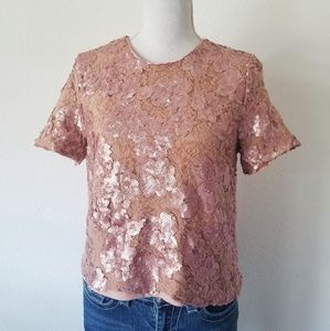 Forever 21 Exclusive Sequined Blush Short Sleeve